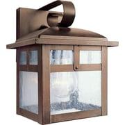 "Aurora® 8 1/2"" x 7"" 100 W 1 Light Outdoor Lantern W/Clear Seeded Glass Shade, Rustic Sienna"