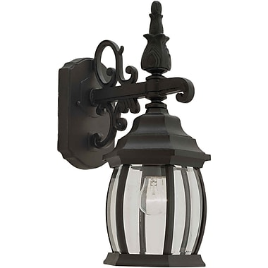Aurora® 1 Light Outdoor Lantern W/Clear Beveled Glass Shade, Black