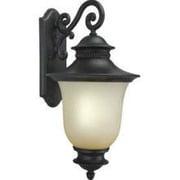 "Aurora® 23"" x 12"" 26 W1 Light Outdoor Lantern W/Umber Seeded Glass Shade, Black"