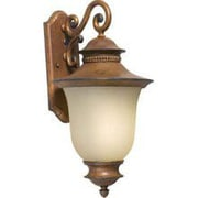 """Aurora® 23"""" x 12"""" 26 W 1 Light Outdoor Lantern W/Umber Linen Glass Shade, Rustic Sienna"""