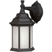 "Aurora® 12"" x 6 1/2"" 18 W 1 Light Outdoor Lantern W/Frosted Seeded Glass Shade, Black"