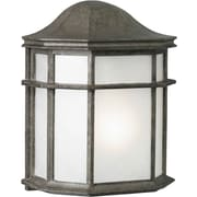 "Aurora® 10"" x 8"" 18 W 1 Light Outdoor Lantern W/White acrylic Panel Shade, River Rock"