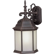 """Aurora® 19"""" x 9 1/2"""" 26 W1 Light Outdoor Lantern W/Frosted Seeded Glass Shade, Painted Rust"""