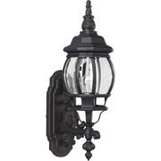 "Aurora® 22"" x 6 1/2"" 100 W1 Light Outdoor Lantern W/Clear Beveled Glass Shade, Black"