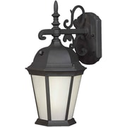 """Aurora® 18 1/4"""" x 9 1/2"""" 26 W1 Light Outdoor Lantern W/Frosted Seeded Glass Shade, Black"""
