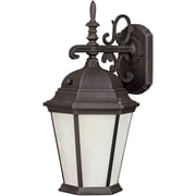 "Aurora® 16"" x 8"" 1 Light Outdoor Lantern W/Frosted Seeded Glass Shade and 9 1/2"" EXT, Painted Rust"