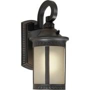 "Aurora® 13 1/2"" x 6"" 18 W 1 Light Outdoor Lantern W/Umber Seeded Glass Shade, Bordeaux"
