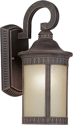 Aurora® 1 Light Outdoor Lantern W/Umber Seeded Glass Shade, Painted Rust