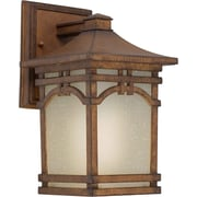 "Aurora® 9 1/2"" x 6"" 18 W 1 Light Outdoor Lantern W/Umber Linen Glass Shade, Rustic Sienna"