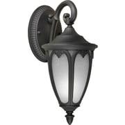 """Aurora® 13 1/2"""" x 6"""" 13 W1 Light Outdoor Lantern W/White Linen Glass Shade, Black"""