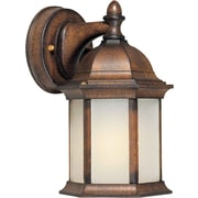"Aurora® 9 1/2"" x 5"" 13 W 1 Light Outdoor Lantern W/Frosted Seeded Glass Shade, Rustic Sienna"