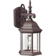 """Aurora® 16"""" x 8"""" 100 W 1 Light Outdoor Lantern W/Clear Beveled Glass Shade, Painted Rust"""