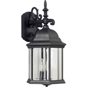 "Aurora® 19"" x 9 1/2"" 60 W 3 Light Outdoor Lantern W/Clear Beveled Glass Shade, Black"