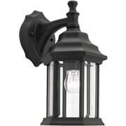 "Aurora® 12"" x 6 1/2"" 100 W 1 Light Outdoor Lantern W/Clear Beveled Glass Shade, Black"