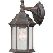 """Aurora® 12"""" x 6 1/2"""" 100 W 1 Light Outdoor Lantern W/Clear Beveled Glass Shade, Painted Rust"""