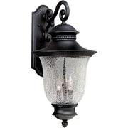 "Aurora® 23"" x 12"" 60 W 3 Light Outdoor Lantern W/Clear Crackle Glass Shade, Black"