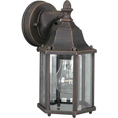 Aurora® 1 Light Outdoor Lantern W/Clear Beveled Glass Shade, Painted Rust