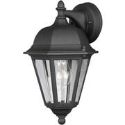 "Aurora® 14"" x 8"" 100 W 1 Light Outdoor Lantern W/Clear Glass Shade, Black"