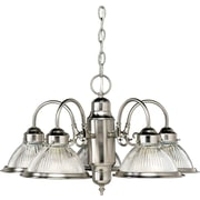 "Aurora® 14"" x 23"" 100 W 5 Light Chandelier W/Ribbed Glass Shade, Brushed Nickel"