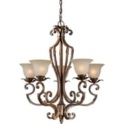 "Aurora® 32"" x 28"" 100 W 5 Light Chandelier W/Umber Glass Shade, Rustic Sienna"