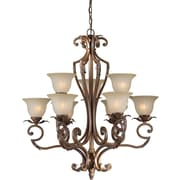 "Aurora® 35"" x 33"" 100 W 9 Light Chandelier W/Umber Glass Shade, Rustic Sienna"