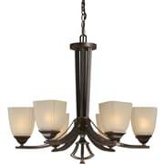 """Aurora® 24"""" x 26"""" 100 W 6 Light Chandelier W/Umber Linen Glass Shade, Antique Bronze"""