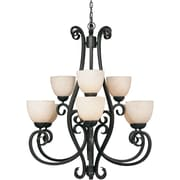 "Aurora® 38"" x 33"" 100 W 9 Light Chandelier W/Tapioca Glass Shade, Bordeaux"