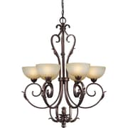 "Aurora® 40"" x 31"" 100 W 6 Light Chandelier W/Umber Mist Glass Shade, Black Cherry"