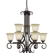 "Aurora® 31"" x 28"" 100 W 9 Light Chandeliers W/Umber Mist Glass Shade"