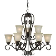 "Aurora® 32"" x 32"" 100 W 9 Light Chandelier W/Umber Mist Glass Shade, Bordeaux"