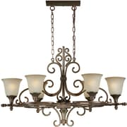 "Aurora® 36"" x 21"" 100 W 6 Light Chandelier W/Umber Glass Shade, Black Cherry"