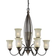 "Aurora® 35"" x 32"" 100 W 9 Light Chandelier W/Umber Mist Glass Shade, Antique Bronze"