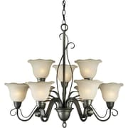 "Aurora® 29"" x 32"" 100 W 9 Light Chandelier W/Umber Glass Shade, Natural Iron"