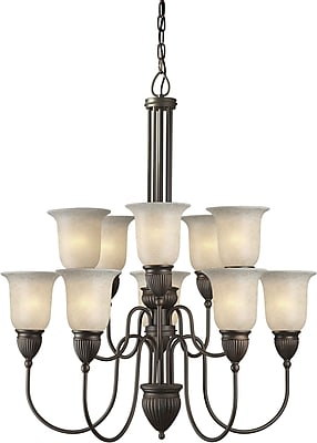 Aurora® 10 Light Chandelier W/Mica Flake Glass Shade, Antique Bronze