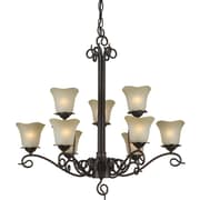 "Aurora® 30"" x 32"" 100 W 9 Light Chandelier W/Umber Glass Shade, Antique Bronze"