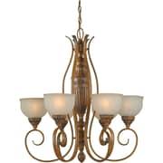 Aurora® 6 Light Chandelier W/Patterned Umber Glass Shade, Rustic Sienna