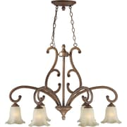 "Aurora® 37"" x 24"" 100 W 6 Light Chandelier W/Umber Glass Shade, Rustic Sienna"
