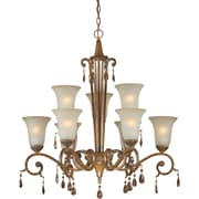 "Aurora® 33"" x 33"" 100 W 9 Light Chandelier W/Umber Glass Shade, Rustic Sienna"