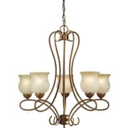 "Aurora® 27"" x 24"" 100 W 5 Light Chandelier W/Umber Glass Shade, Chestnut"