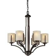 "Aurora® 27 1/2"" x 24 1/2"" 100 W 6 Light Chandelier W/Umber Linen Glass Shade, Antique Bronze"