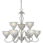 "Aurora® 28"" x 32"" 100 W 9 Light Chandelier W/White Linen Glass Shade, Brushed Nickel"
