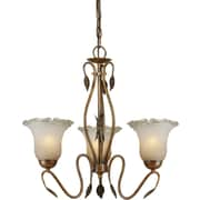 "Aurora® 20 1/2"" x 20"" 100 W 3 Light Chandelier W/Umber Ice Glass Shade, Rustic Sienna"