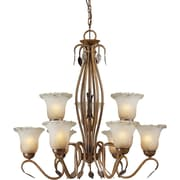 "Aurora® 30"" x 30"" 100 W 9 Light Chandelier W/Umber Ice Glass Shade, Rustic Sienna"