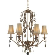"Aurora® 32"" x 28"" 60 W 6 Light Chandelier W/Optional Fabric Shade, Rustic Sienna"