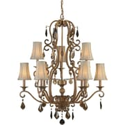 "Aurora® 38"" x 33 1/2"" 60 W 9 Light Chandelier W/Optional Fabric Shade, Rustic Sienna"