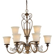 "Aurora® 30"" x 33"" 100 W 9 Light Chandelier W/Tapioca Glass Shade, Rustic Sienna"