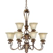 "Aurora® 37"" x 34"" 75 W 12 Light Chandelier W/Umber Glass Shade, Rustic Sienna"