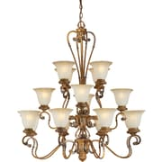 Aurora® 16 Light Chandelier W/Umber Glass Shade, Rustic Sienna