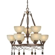 "Aurora® 36"" x 32"" 100 W 9 Light Chandelier W/Umber Glass Shade, Black Cherry"