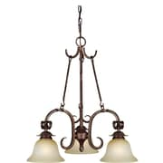"Aurora® 23"" x 21"" 100 W 3 Light Chandelier W/Umber Mist Glass Shade, Black Cherry"